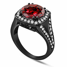 GARNET & DIAMOND ENGAGEMENT RING VINTAGE STYLE 14K BLACK GOLD HALO 3.35 CARAT