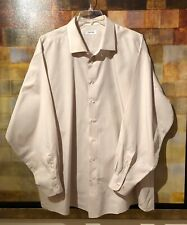 CALVIN KLEIN Beige & White Pinstripe Dress Shirt Size 20 35/36 Tall MINT msrp$90