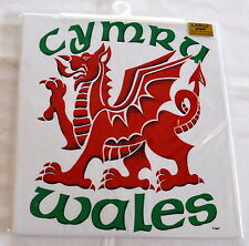 WELSH DRAGON design  WHITE T SHIRT, Small adult,  Wales/ Cymru