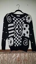 vtg 90s Jantzen Hand Embroidered Black White Womens Pullover Sweater Sz S