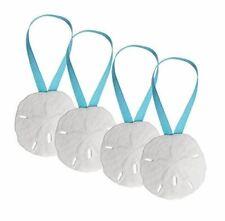 "Nautical Ornament | Real Sand Dollars 3"" with Aqua Blue Ribbon | 4 Pack"