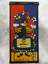 COLORFUL LITHO TIN BOX ROMERO BRITTO 1990 ENGLAND CRÈME DE GRAND MARNIER