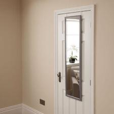 Modern Grey Space Saving Over Door Hanging Bedroom Mirror, Long Frame w Hook