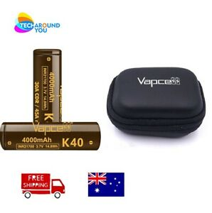 2x Vapcell K40 INR21700 4000mAh 45A Rechargable Battery Li-ion with Battery Case