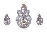 3,22 Cts Runde Baguette Cut Pave Diamanten Anhänger Ohrringe Set In 14K Gelbgold