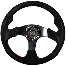 320mm JDM Style 6-bolt Racing Steering Wheel Black Suede & Red Stiching