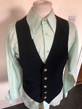 VINTAGE 70'S NAVY BLUE WITH RED BACK DRESS MOD DAPPER WAISTCOAT VEST SMALL