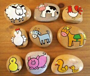 Painted rocks, stones, pebbles. Story Stones farm animals, set of 9 pebbles.