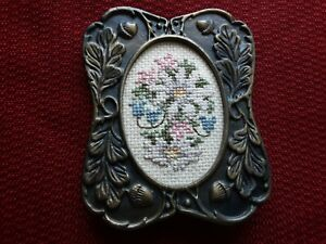 Vintage Petite Point Framed Embroidery