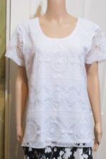 Ladies MILLERS White Lace Blouse Short Sleeved Size L OR 14