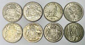 Australian Silver One Florin Coin - Lot of 8 Coins
