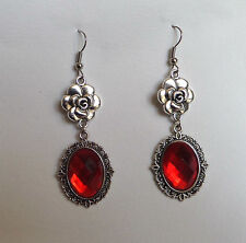 CAMELLIA FILIGREE VICTORIAN STYL ORANGE RED SILVER PLATED DROP EARRINGS CFE Hook