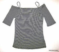 Black White Striped NEW Cold Off Shoulder Top Shirt Juniors M MEDIUM  Marilyn