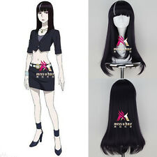 Death Parade Chiyuki Girl's Long Straight Dark Purple Color Anime Cosplay Wig