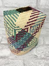 "Southwestern Woven Grass Rattan Tissue Box Cover Boho 4X4X4"""