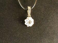 Anhänger 24 Karat Vergoldet Blume Necklace Blüte Strass Geschenk Weiß Chain