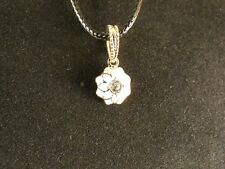 Colgante 24 quilates dorado flor Necklace floración pedrería regalo blanco Chain