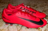 NIKE Mercurial Veloce III FG Bright Crimson Black Red Soccer Cleats Mens 8 8.5