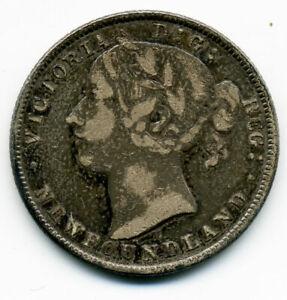 NEWFOUNDLAND 1872-H SILVER 20 CENTS F/VF