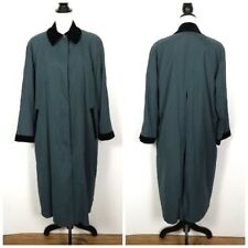 Vintage London Fog Emerald Green Trench Coat Size 10 Petite Black Velvet Trim