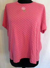 SML Sport cotton/poly PINK polka dot with Daisy knit top XL *FREE SHIPPING* Nice