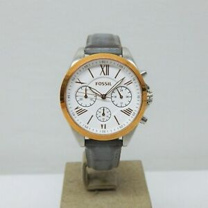 LADIES FOSSIL CHRONOGRAPH WATCH FOR PARTS OR REPAIR WITH LEATHER STRAP