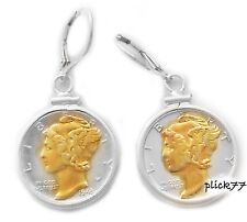 14k Gold Highlighted Mercury Dime Sterling Silver Coin Bezel Earrings