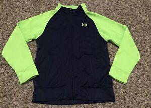 Boys Under Armour Green Blue Zip Up Jacket Clothes Size 7 EUC