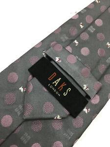 Authentic DAKS LONDON Polka Dot DD Dog Design On Silver 100% Silk Necktie Tie