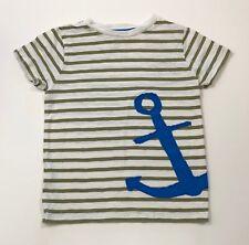 MINI BODEN Green Stripe Anchor Appliqué Tee Shirt Size 5-6Y 5T EUC