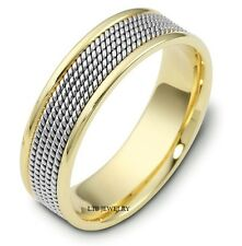 BRAIDED MENS 14K TWO TONE GOLD WEDDING BANDS,7MM HANDMADE GOLD WEDDING RINGS