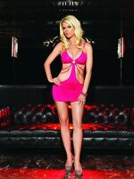 STRETCH PINK CUT OUT O-RING CHAINS BIKINI MINI DRESS CLUBWEAR GLAMOUR LEG AVENUE