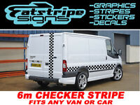 6m CHECKER FORD TRANSIT ST CONNECT VAN GRAPHICS STICKERS DECALS STRIPES LDV