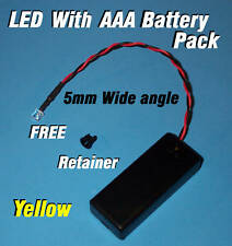 5mm LED + AAA BATTERY PACK & SWITCH YELLOW WIDE ANGLE(Halloween / Projects / DIY