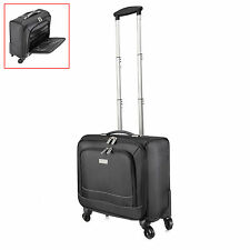 Mens 16'' Black Business Trolley Suitcase 4 Wheel Laptop Case Briefcase Luggage