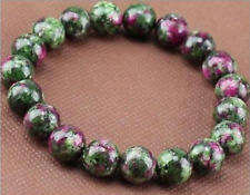 New 10mm Natural Green Ruby In Zoisite Round Gemstone Stretchy Bracelet 7.5''AAA