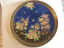 Super large Art Deco Crown Devon Lustre enamelled Charger with birds & flowers