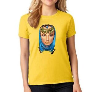 Ladies Fancy Ornament Print with Women Face T Shirt Girls Novelty Sexy Top Tees