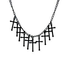 Black Gothic Hanging Crosses Necklace Punk Metal Occult Alternative Grunge