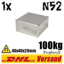 Neodym Magnet 40x40x20mm N52 100kg handlicher starker Werkstattmagnet Suchmagnet