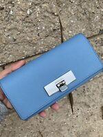 Michael Kors Tina Blue Saffiano Leather Carryall Wallet Purse NWT