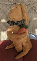 "Standing 17"" Bunny Rabbit - Tea Stained Primitive Folk Art Rag Doll Easter Decor"