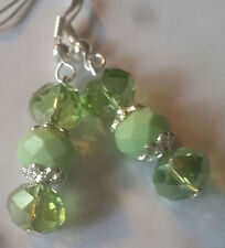 Triple 8mm Green Faceted Glass & Crystal Earrings-Sterling Hook-Combined Shippi