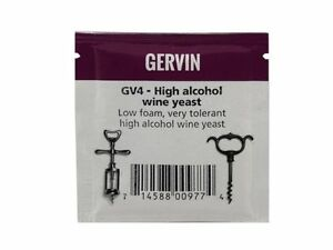 Gervin GV4 High Alcohol Wine Yeast 5g Sachet For ABVs Of Up To 21% Homebrew NEW
