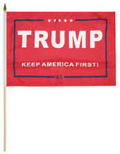 "6 Pack Trump Keep America First! 45 Red 100D 12""x18"" Stick Flag 30"" Wood Staff"