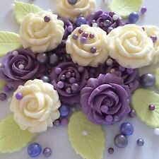 LILAC IVORY ROSES Edible Sugar Paste Flowers Cup Cake Decoration Wedding Toppers