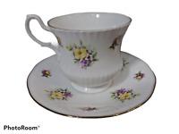 Royal Heritage Bone China England Tea Cup Saucer Rose Wild Flower Gold Trim MOM