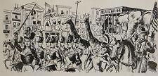 Dessin original de Pierre Rousseau pour Barnum, récit de cirque, parade, 1954