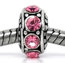 October Birthstone Pink Rhinestone Spacer Ring Bead for European Charm Bracelets