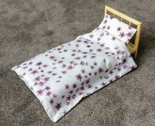 *HANDMADE LARGE 50CM WOODEN BABY DOLL BED + MATTRESS, QUILT & PILLOW, LUVABELLA*